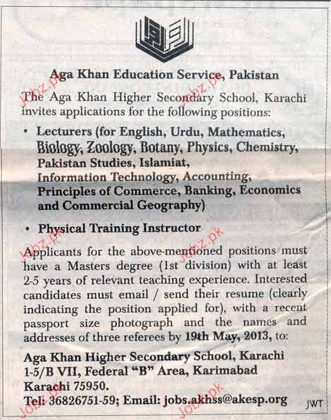 Lecturers and Physical Training Instructors  Job Opportunity