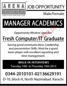 Manager Academics Job Opportunity