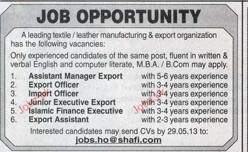 Assistant Manger Export, Export Officers Job Opportunity