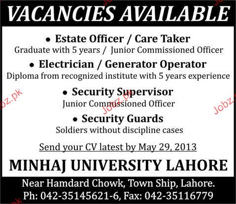 Estate Officer / Care Takers, Electricians Job Opportunity