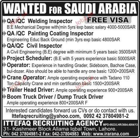 QA/QC Welding Inspectors, Civil Inspectors Job Opportunity