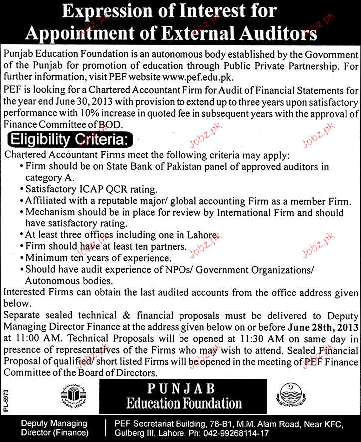 external auditors opportunity 2018 pakistan jobz pk