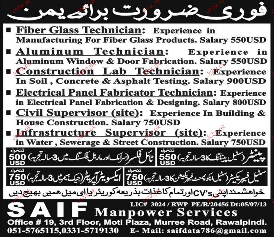 Aluminum Technicians, Civil Supervisors  Job Opportunity