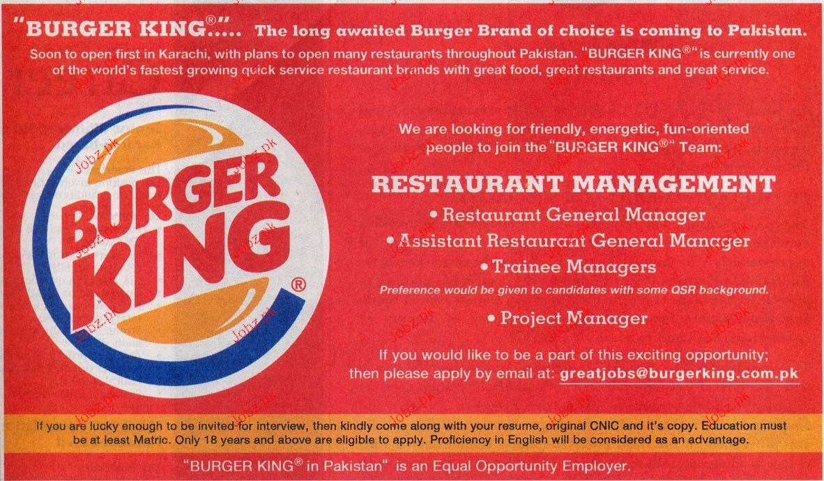Restaurant General Manager, Trainee Manager Job Opportunity 2017 ...