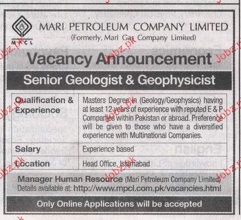 Senior Geologist and Geophysicst Job Opportunity