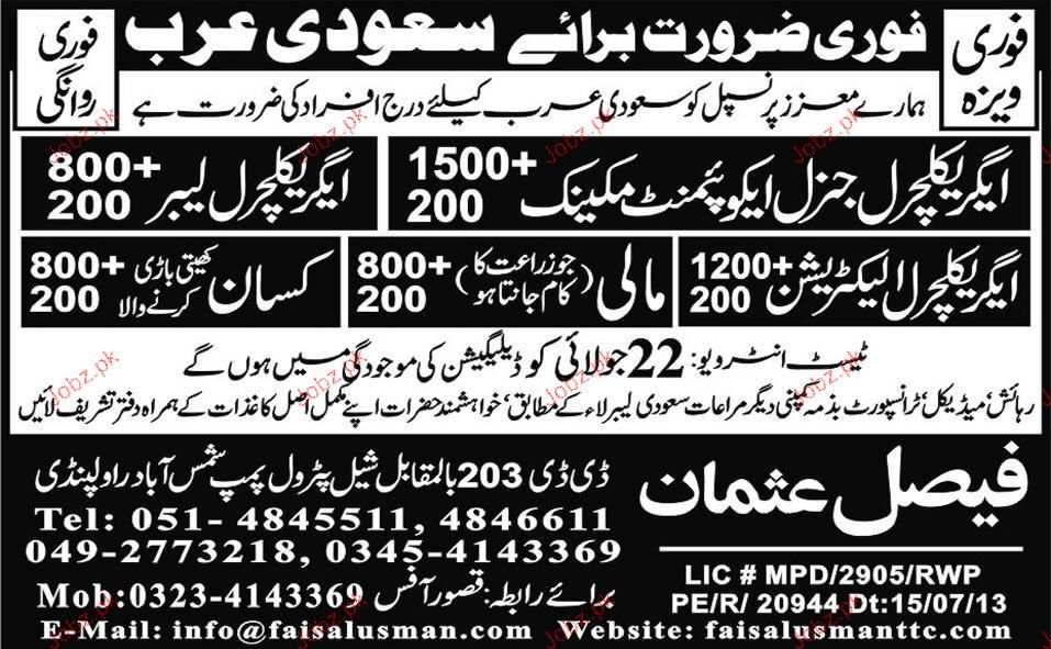 Agriculture Labors, Agriculture Electricians Job Opportunity