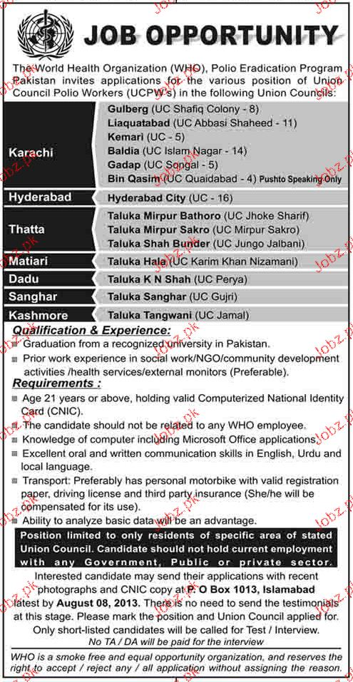 Union Council Polio Workers Job Opportunity