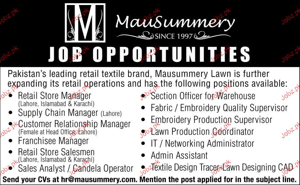 Manager Retail Store Supply Chain Manager Wanted 2019 Job