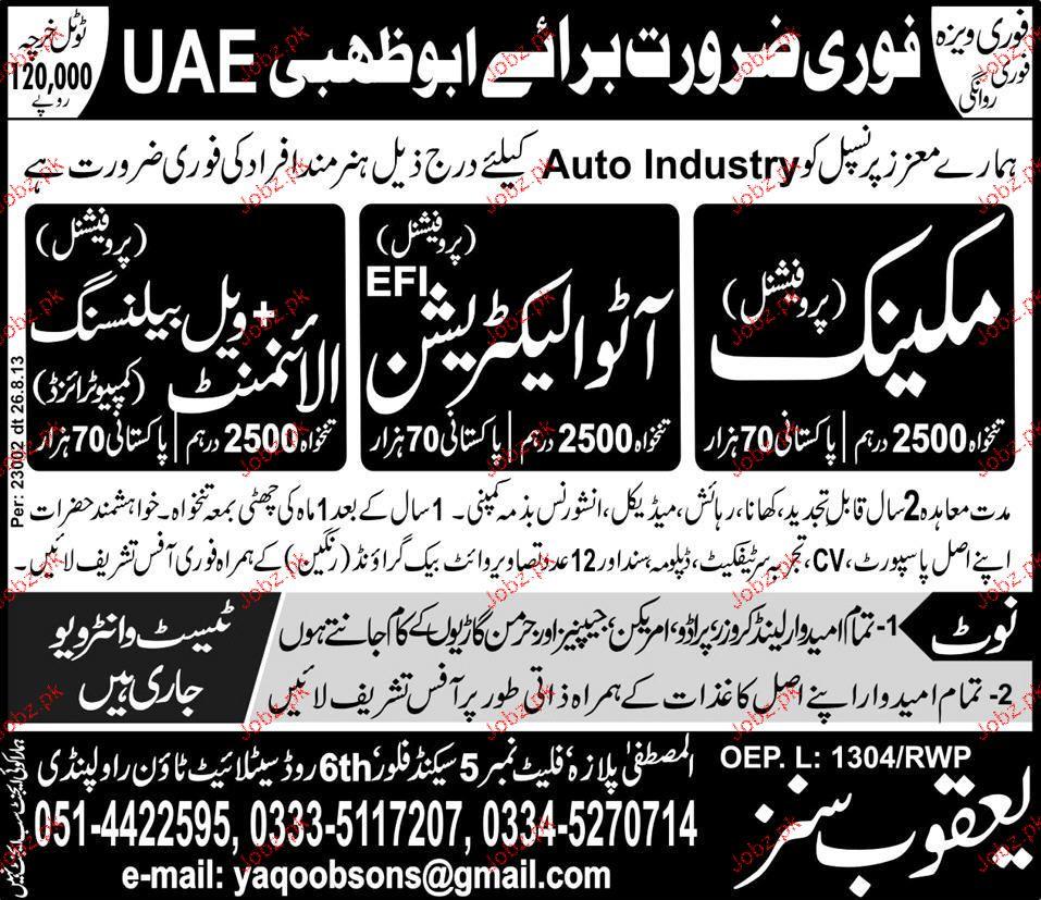 Mechanics, Auto Electricians Job Opportunity