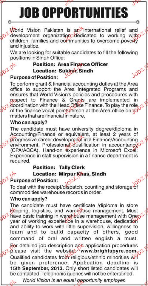 Tally Clerks and Area Finance Officer Job Opportunity