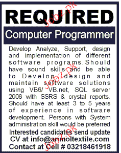 Computer Programmers Job Opportunity