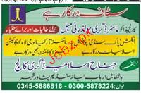 Teaching Staff Jobs in Jinnah Islamia Degree College