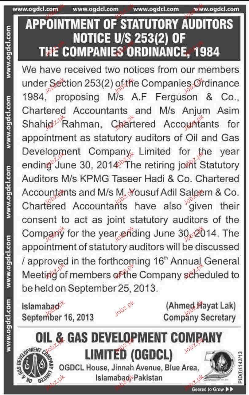 Statutory Auditors Jobs in OGDCL