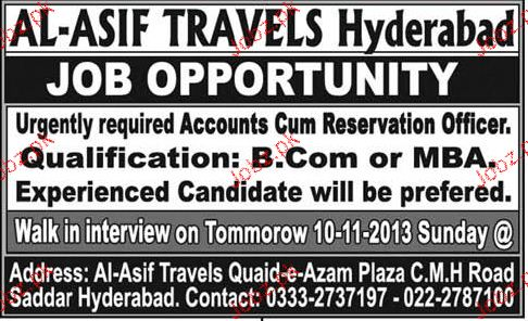 Accounts Cum Reservation Officers Job Opportunity