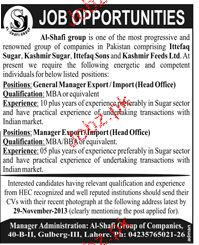 General Manager and Manager Export Job Opportunity