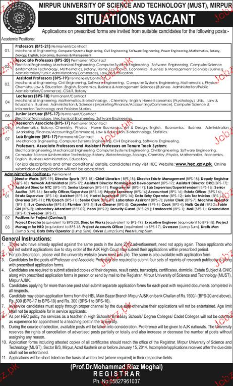 Teaching Jobs in Mirpur University of Science and Technology 2019