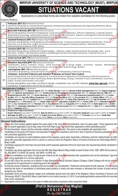 Teaching Staff Job in Mirpur University of Science and Techn