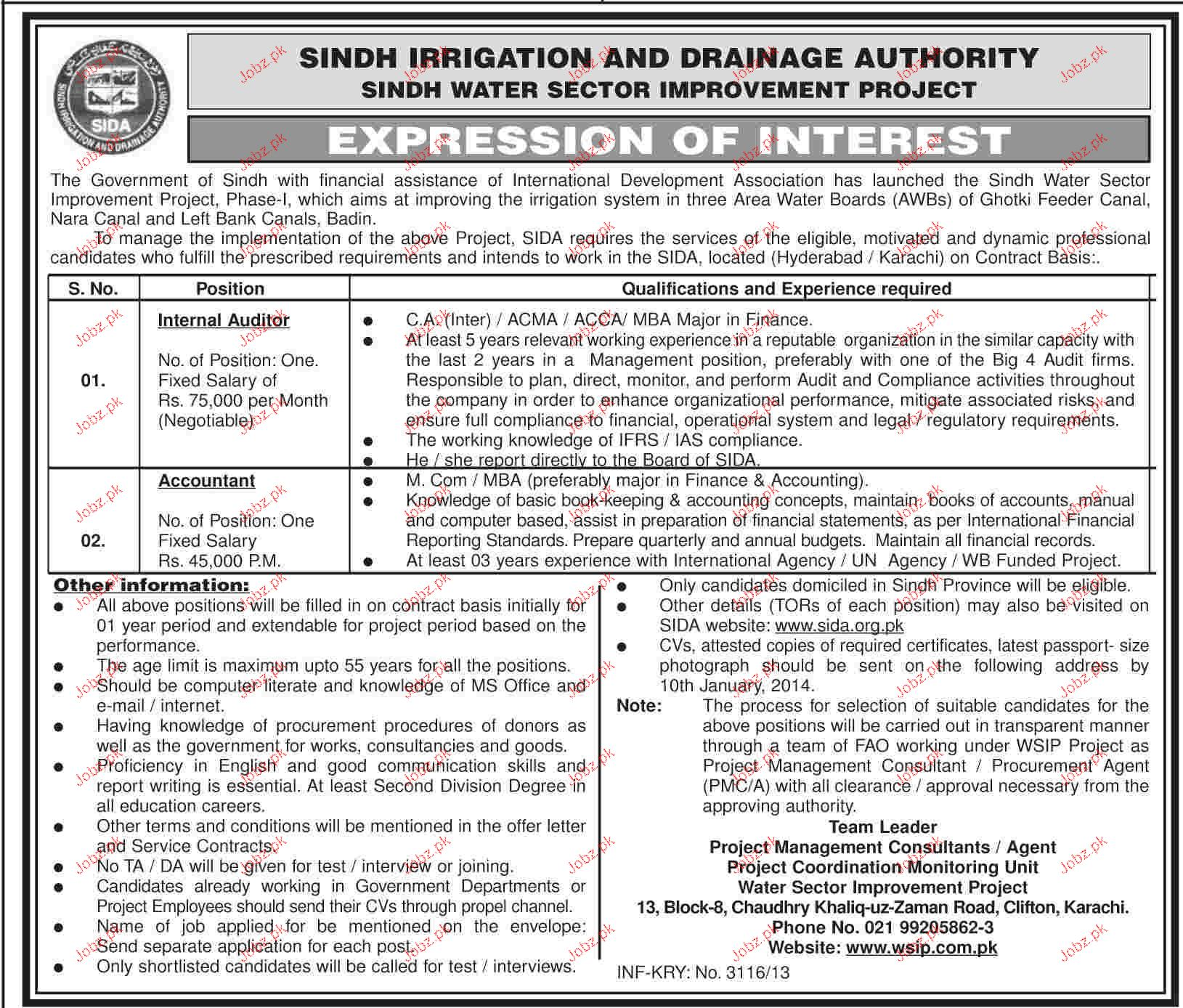 and Accountant Job in Sindh Irrigation Dep Pakistan 2014 Government