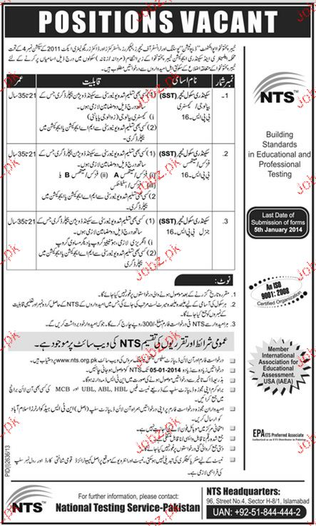 Secondary School Teachers Job in Government of KPK 2019 Job