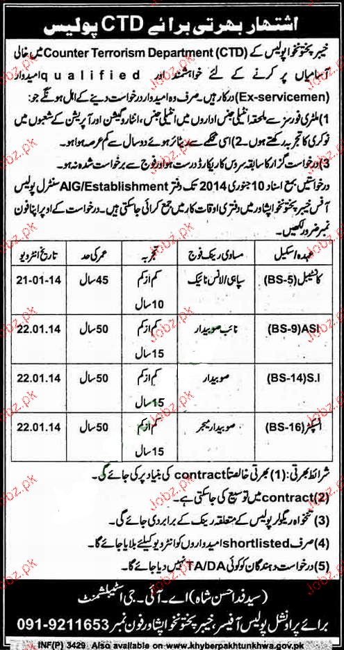constables  asi  si and inspectors job in kpk police 2019