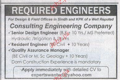 Resident Engineers, Senior Design Engineers Wanted