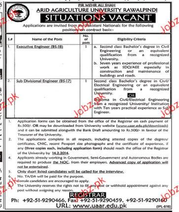 Executive Engineer and Sub Divisional Engineer Job in Arid