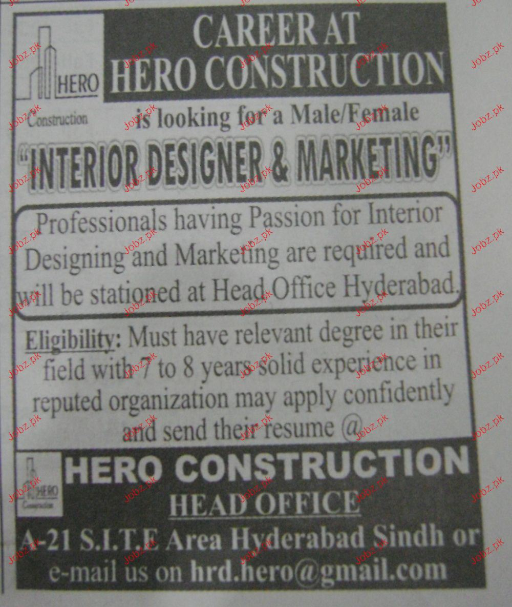 Interior designers marketing job opportunity 2018 jobs for Vacancies in interior design company