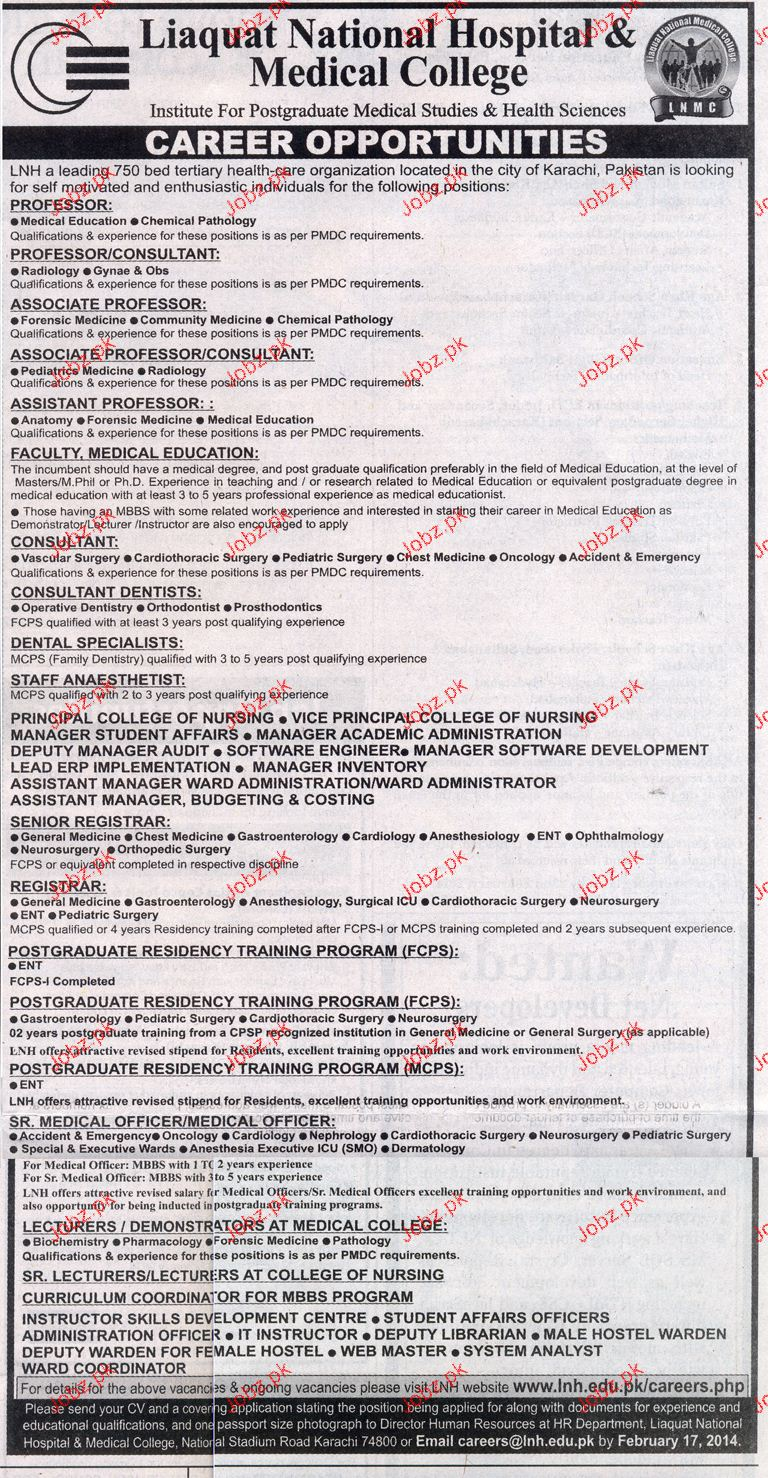 Teaching Jobs in Liaquat National Hospital & Medical College