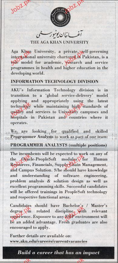 Program Analyst Job In The Aga Khan University  Jobs Pakistan