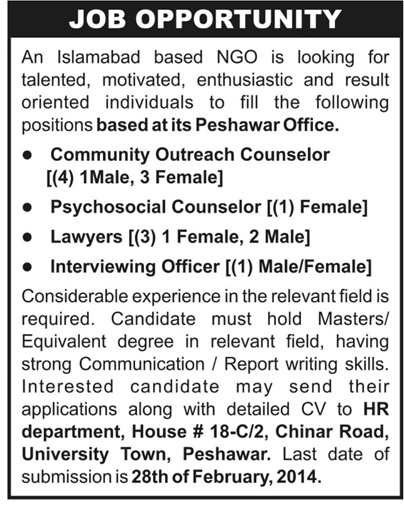 Lawyers, Psychological Counselor Job Opportunity
