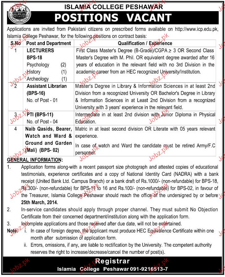 Assistant Librarian, Lecturers and PTI Job Opportunity