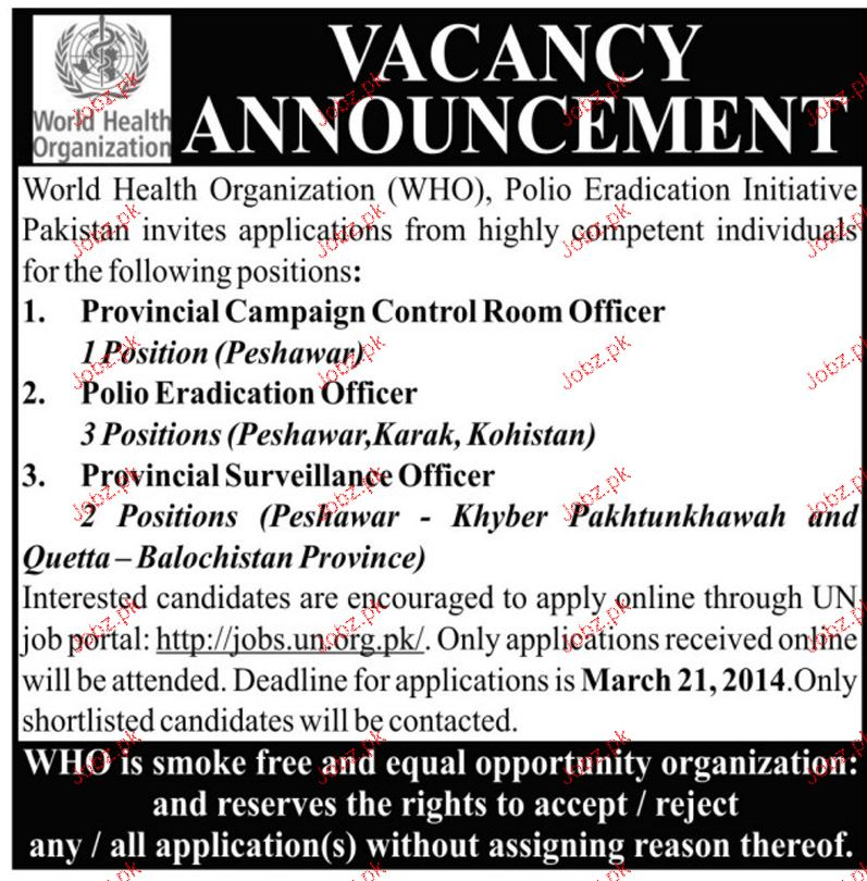 Polio Eradication Officers, Control Room Officer Wanted