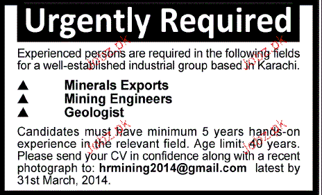Minerals Exports, Mining Engineers Job Opportunity