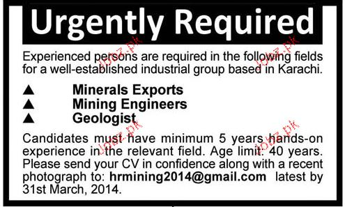 Minerals Exports, Mining Engineers and Geologist Wanted