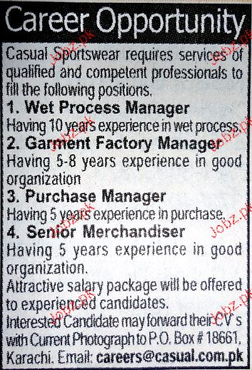Wet Process Managers, Garment Factory Manager Wanted