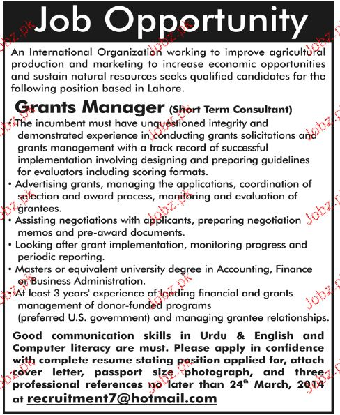 Grants Manager Job Opportunity