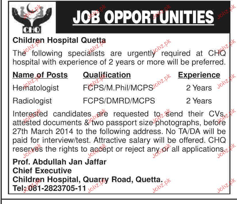 Hematologist And Radiologist Job In Children Hospital Quetta