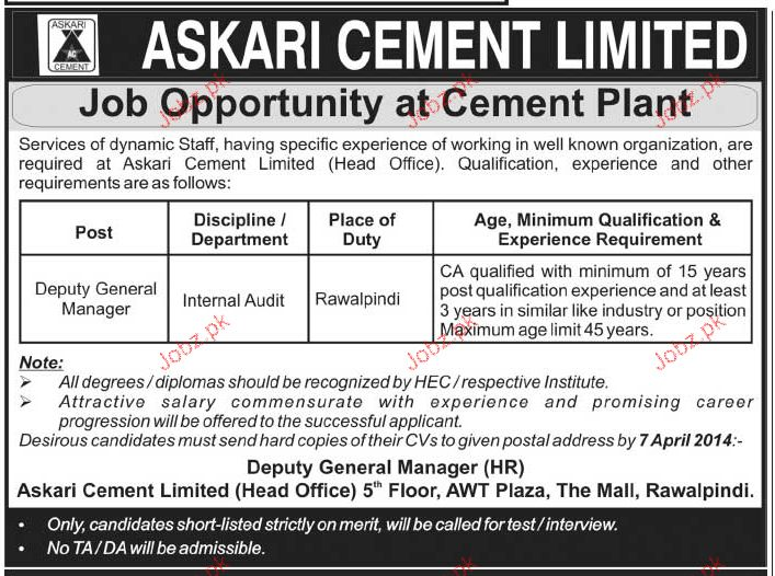 Deputy General Manager Job Opportunity