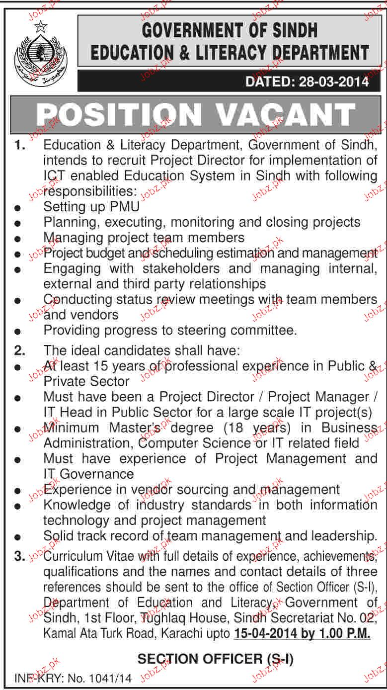 Project Director Job in Government of Sindh