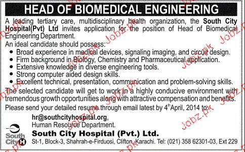 Head Of Biomedical Engineering Job Opportunity  Jobs Pakistan