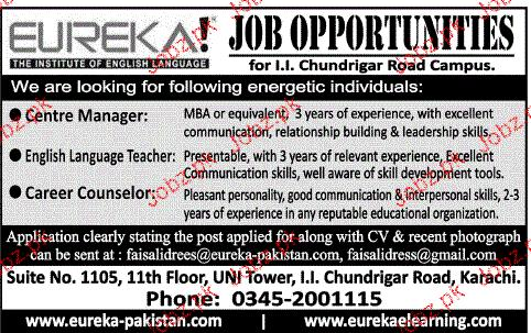 Career Counselors, Centre Manager Job Opportunity