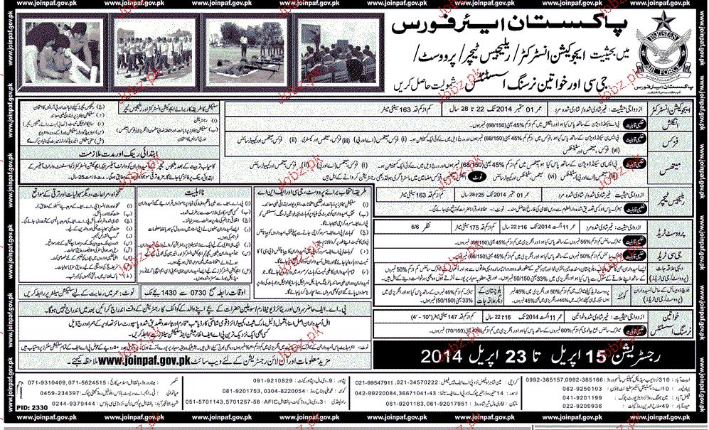 Education Instructors, Religious Teachers, JCos Job in PAF