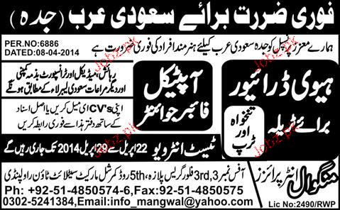 Heavy Drivers and Optical Fiber Jointers Job Opportunity
