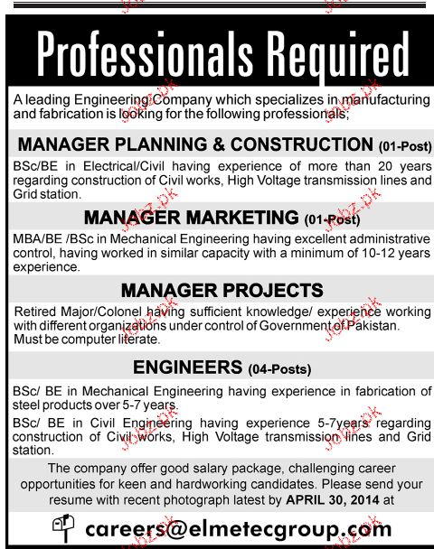 Manager Planning, Manager Marketing Job Opportunity