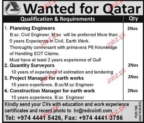 Planning Engineers, Quantity Surveyors Job Opportunity