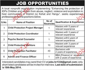 Child Protection Manager, Psycho Social Counselors Wanted