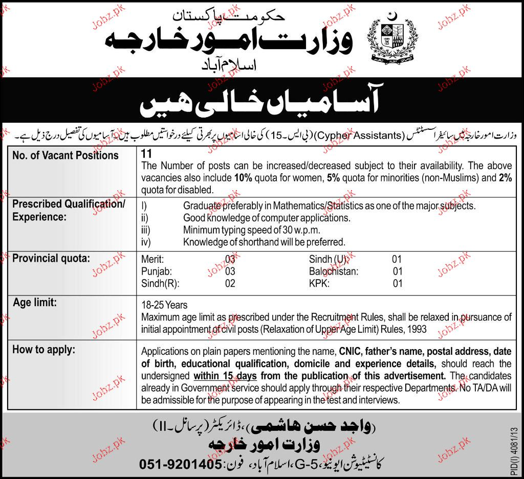 Cypher Assistants Job in Ministry of Foreign Affairs