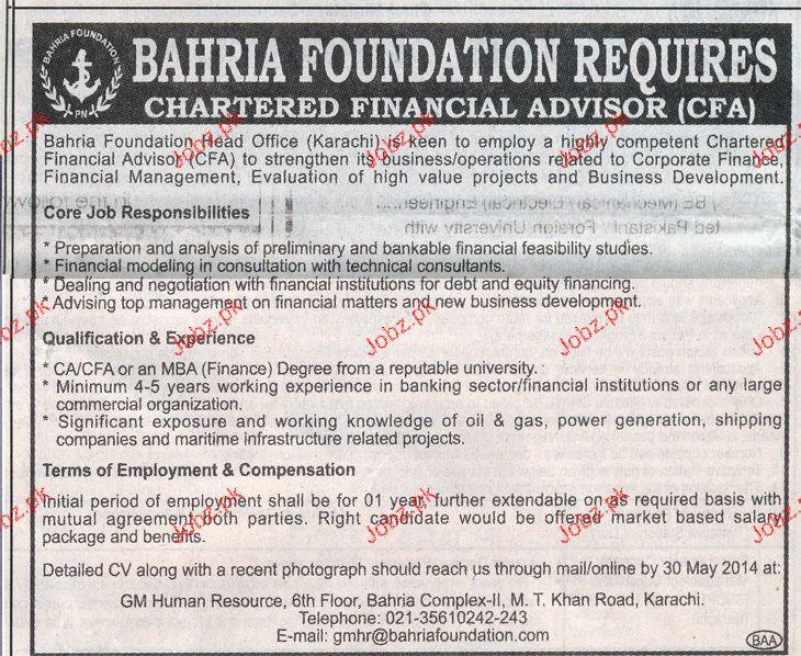 Chartered Financial Advisor Job Opportunity