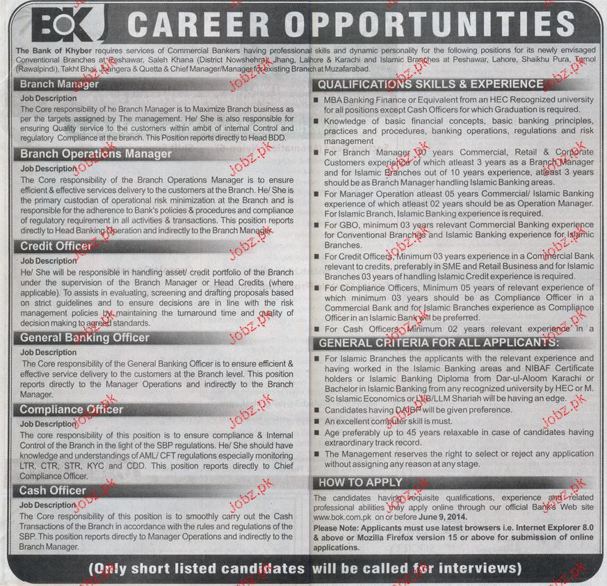Cash officers compliance officer credit officer wanted 2018 jobs pakistan - Role of compliance officer in bank ...
