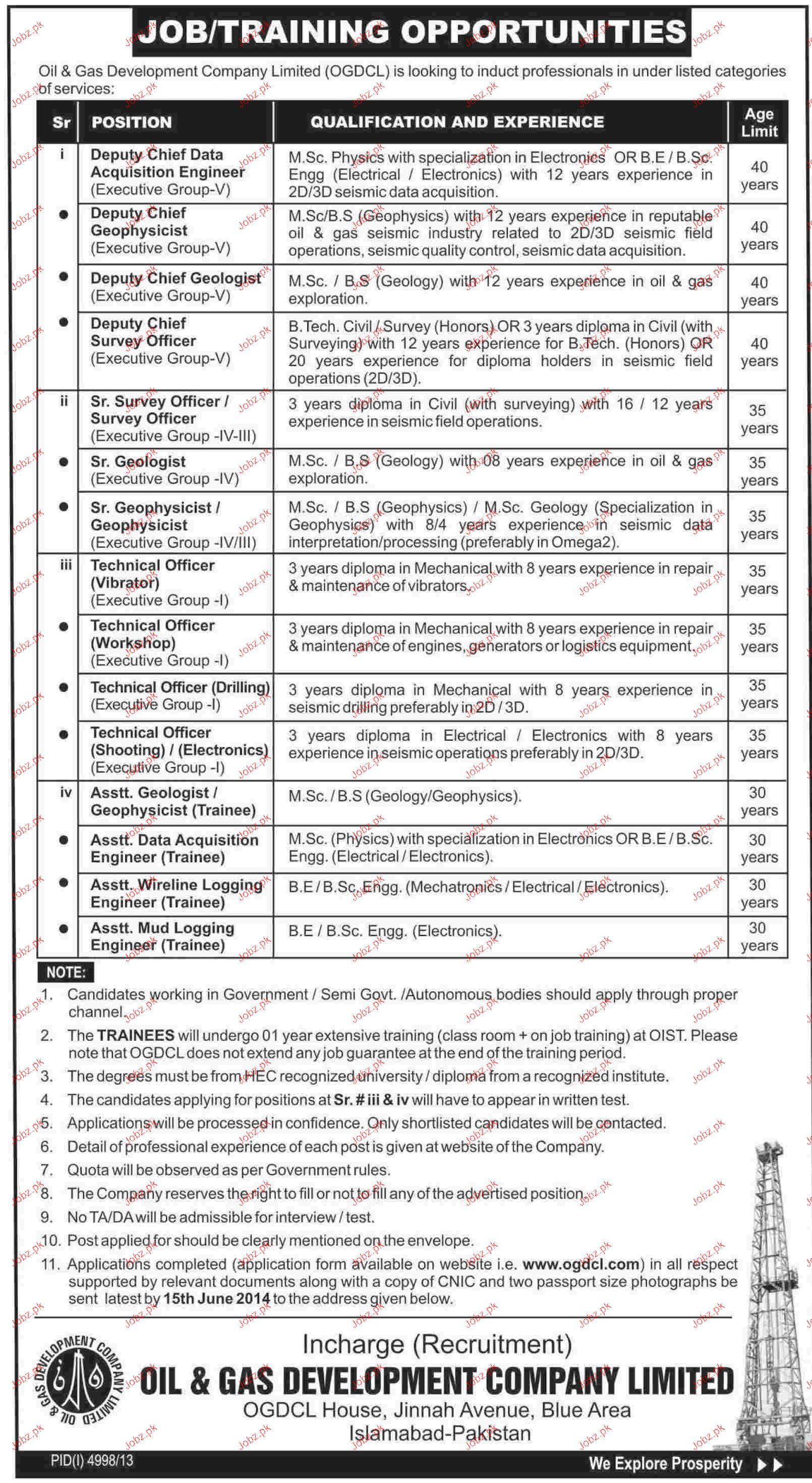 Deputy Chief Data, Deputy Chief Survey Officers Job in OGDCL